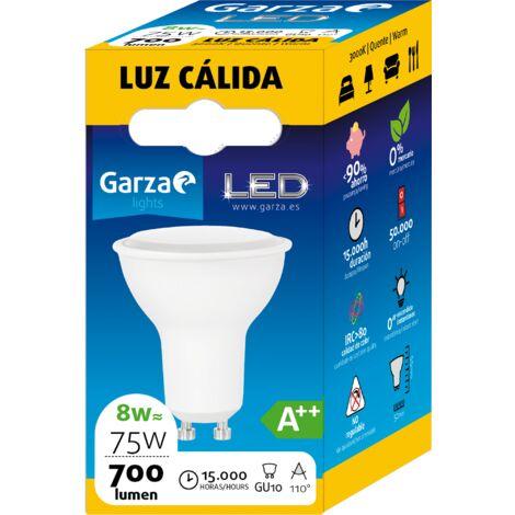 Bombilla LED GU10 8W 110º 700 lumenes 30K