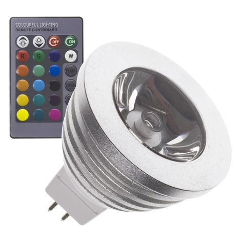 Bombilla LED GU5.3 MR16 12V DC RGB 60º 3W