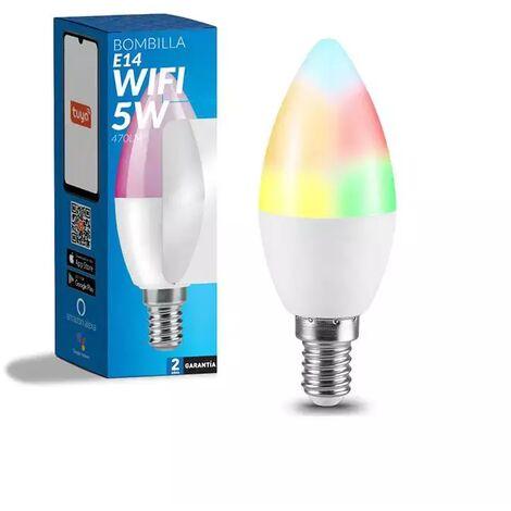 Bombilla LED Inteligente Smart C37 E14 Vela Dimable CCT+RGB 6W WiFi Compatible con Alexa y Google Home RGB+3000+4000+6000   IluminaShop