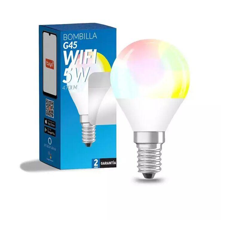 Bombilla LED Inteligente Smart G45 E14 Dimable CCT+RGB 6W WiFi Compatible con Alexa y Google Home RGB+3000+4000+6000 | IluminaShop