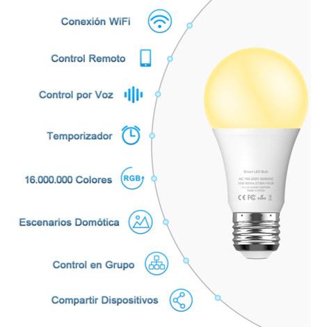 Bombilla LED Inteligente WiFi BLUYA, 10W E27 Bombilla LED Luces Cálidas/Frías & RGB, Lámpara WiFi Funciona con Alexa (Echo, Echo Dot) Google Home IFTTT, 16 Millones de Colores, 800 Lúmenes [Clase de eficiencia energética A]