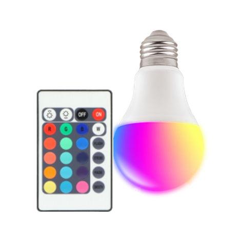 Bombilla led multicolor con mando para lámpara exterior de Ø 5x12 cm
