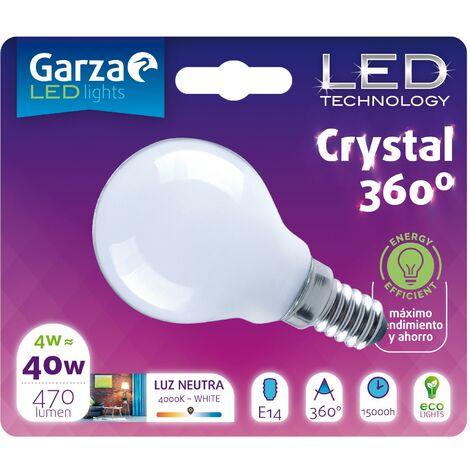 Bombilla LED Opal Esférica 4W, 470 lumenes, E14, 360º, Luz Neutra