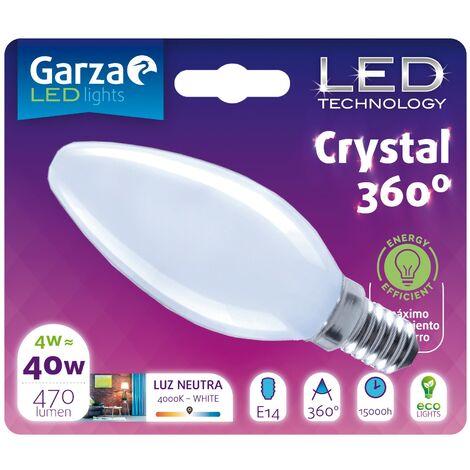 Bombilla LED Opal Vela 4W, 470 lumenes, E14, 360º, Luz Neutra