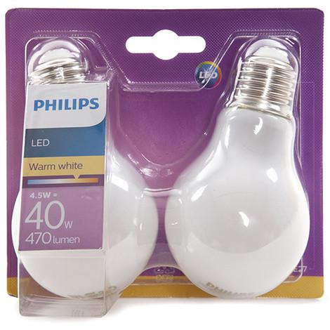 Bombilla LED Philips E27 A60 4,5W 470Lm Blanco Cálido (2 Unidades) | Blanco Cálido (PH-8718696422328-WW)