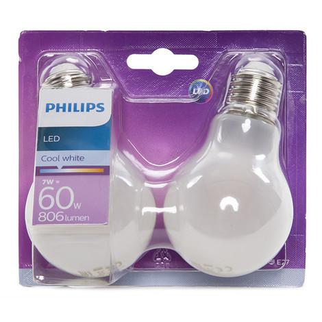 Bombilla LED Philips E27 A60 7W 806Lm Blanco Natural (2 Unidades) | Blanco Natural (PH-8718696740569-W)