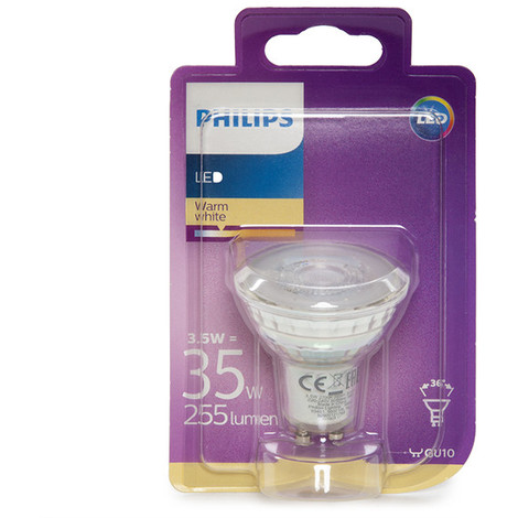 Bombilla LED Philips GU10 36D 3,5W 255Lm Blanco Cálido | Blanco Cálido (PH-8718696562666-WW)