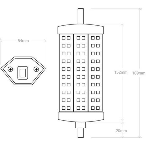 Bombilla LED R7S, 13W, 60xSMD5050, 189mm