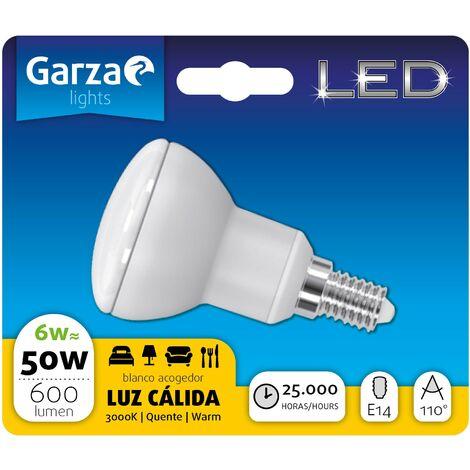Bombilla LED reflectora R50 6W, 600 lumenes, E14, 110º, Luz cálida