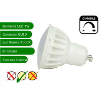 Bombilla led regulable GU10 7W blanco 4200K