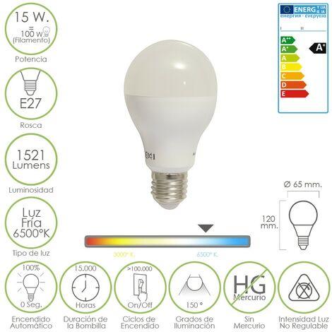 Bombilla led standar e27 15 w. igual 120 w. luz fria 6500º k