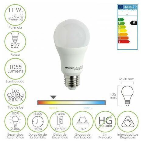 Bombilla led standar regulable e27. 11 w. = 75 w. 1055 lúmenes. luz calida. (3000°k).