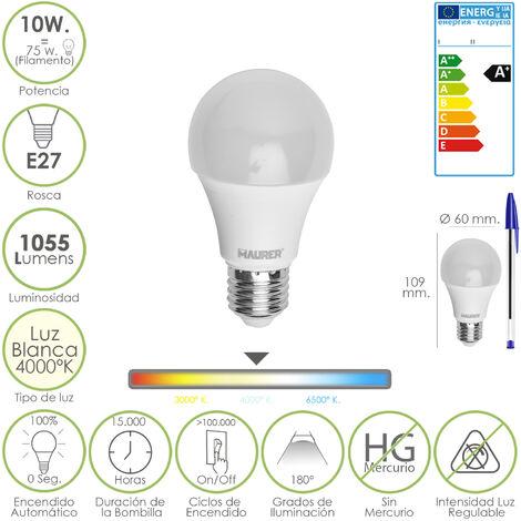 Bombilla led standar rosca e27 (gorda) 10 watt. equivalente a 75 watt. 1055 lumenes. luz blanca (4.000º k) a+