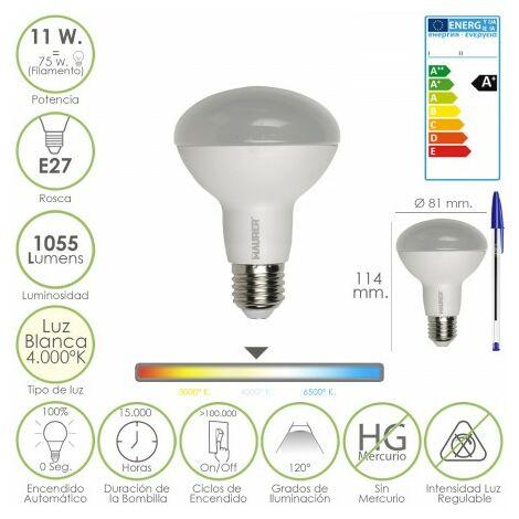 Bombilla led standar rosca e27 (gorda) 11 watt. equivale a 75 watt. 1055 lumenes. luz blanca (4.000º k) a+