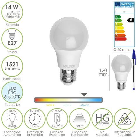 Bombilla led standar rosca e27 (gorda) 14 watt. equivale a 100 watt. 1521 lumenes. luz fría (6.500º k) a+
