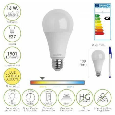 Bombilla led standar rosca e27 (gorda) 16 watt. equivale a 120 watt. 1901 lumenes. luz cálida (3.000º k) a+