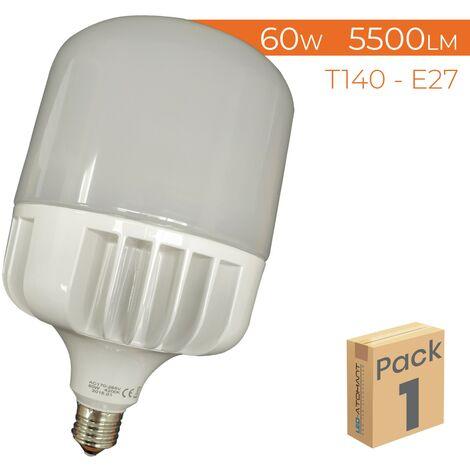 Bombilla LED T140 E27 60W 5500LM A++ | Blanco Frío 6500K - Pack 2 Uds. - Blanco Frío 6500K