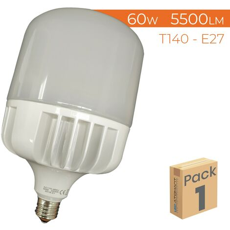 Bombilla LED T140 E27 60W 5500LM A++ | Pack 10 Uds. - Blanco Frío 6500K