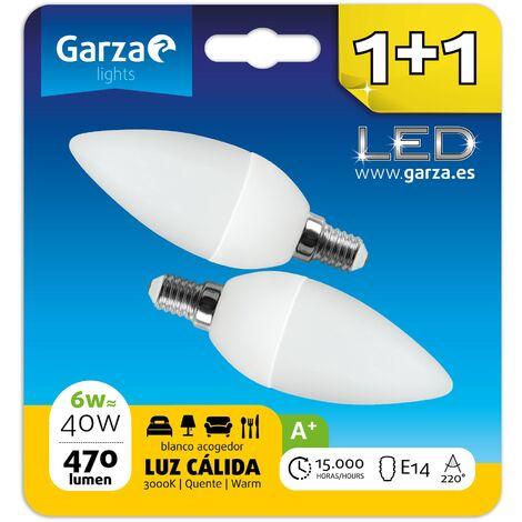 Bombilla LED vela 6W (equivale a 40W) casquillo E14 220º 470 lumenes, luz cálida Blister 1+1