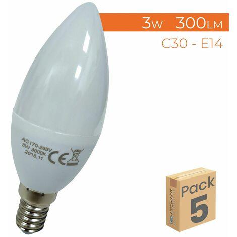 Bombilla LED Vela C30 E14 3W 300LM A++ | Pack 100 Uds. - Blanco Cálido 3000K