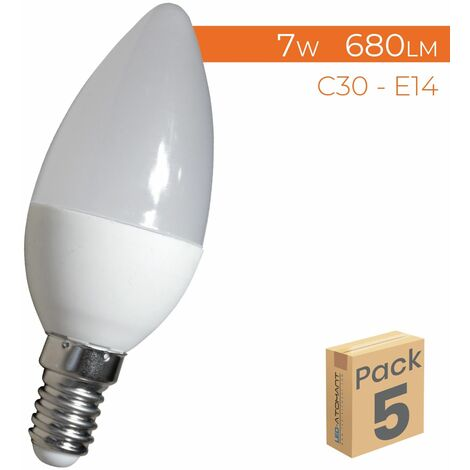 Bombilla LED Vela C30 E14 7W 680LM A++ | Pack 50 Uds. - Blanco Cálido 3000K