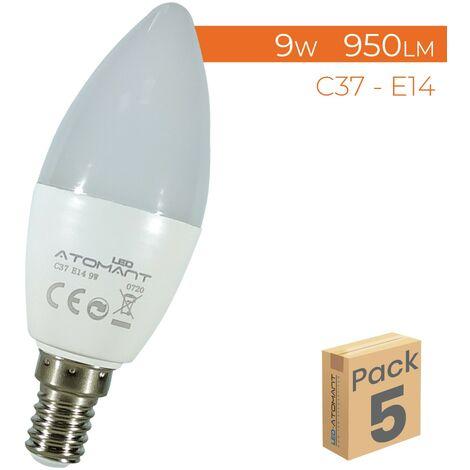Bombilla LED Vela C37 E14 9W 800LM A++ | Pack 100 Uds. - Blanco Cálido 3000K
