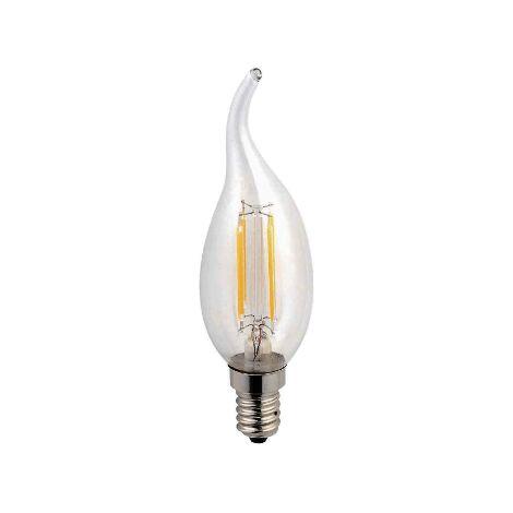 Bombilla led vela E14 2w 3000k llama transparente - 0