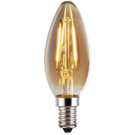 Bombilla LED Vela E14 4W de Filamento GOLD VINTAGE ámbar 1800K