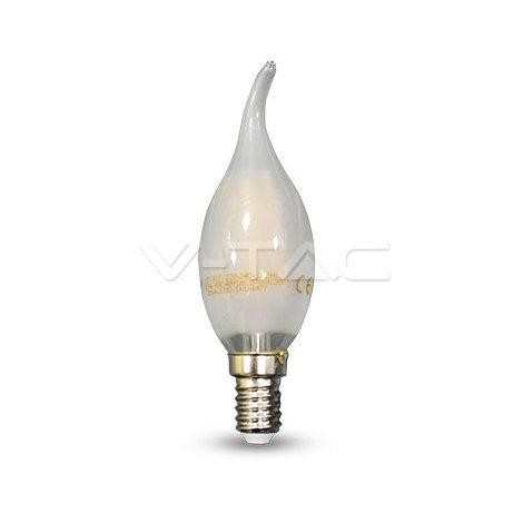 Bombilla LED vela efecto llama rizada Filament Frost Cover E14 4W 300°
