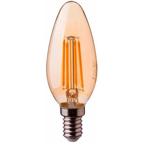Bombilla led vela filamento Gold Cover E14 2200K 4W 300°