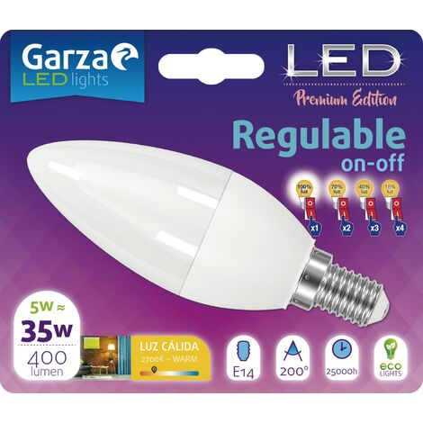 Bombilla Led vela regulable en intensidad on/off luz cálida 5W, E14, 110º, 400 lumenes (equivale a 35W)