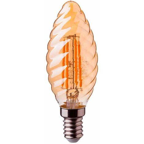 Bombilla led vela rizada filamento Gold Cover E14 2200K 4W 300°