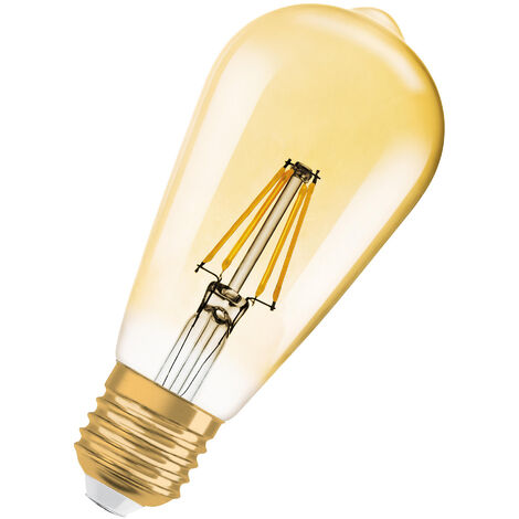 Bombilla LED Vintage E27 Oro 7W 2700K Luz Calida Regulable OSRAM