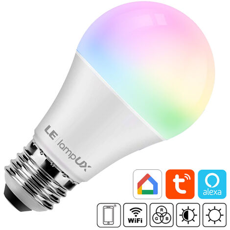 Bombilla LED WiFi E27, 9W, RGB+CCT, APP, Alexa, Google Assistant, RGB + Blanco dual, regulable