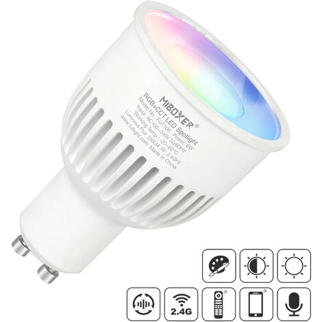 Bombilla LED WiFi GU10 Bulb 6W RGB+CCT, RGB + Blanco dual, regulable - RGB + Blanco dual