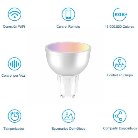 Bombilla Led Wifi Inteligente Bluya XLB50 GU 10 WiFi Regulable Lámpara Multicolor Bombilla Compatible con Alexa, Google Home Assistant y App Smart Life/Tuya, Equivalente a 32W RGB5W 350 Lm,