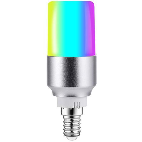 Bombilla LED WIFI inteligente, Bombilla LED RGB + W, Control de voz, 6W E14