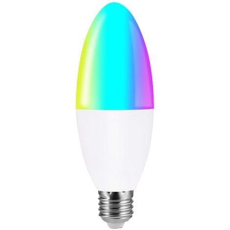 Bombilla LED WIFI inteligente, Bombilla LED tipo vela RGB + W, Control por voz, 6W E27