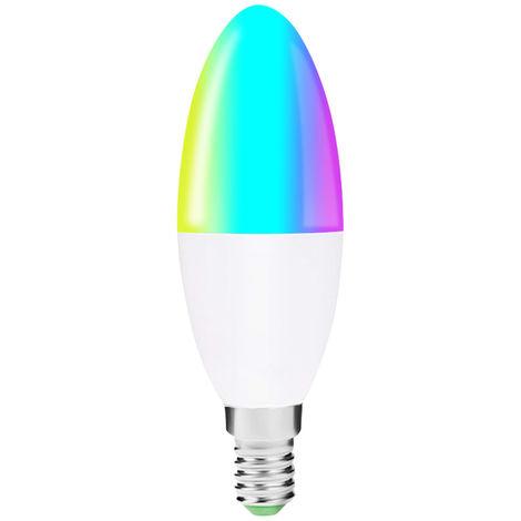 Bombilla LED WIFI inteligente V16-S, Bombilla de vela LED RGB + W, Control de voz, 6W E14
