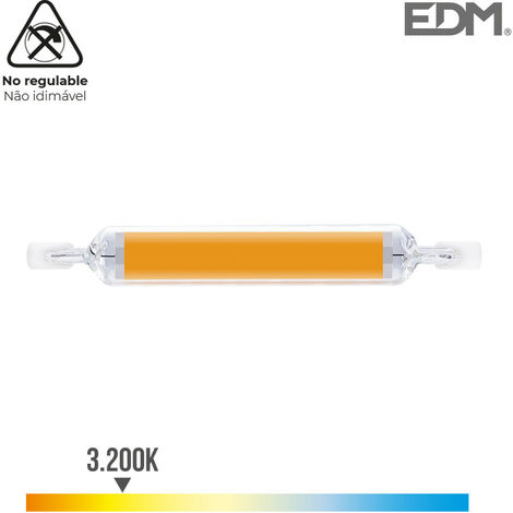 BOMBILLA LINEAL LED 118MM R7S 12W 1250 LM 3200K LUZ CALIDA Ø 16MM EDM - NEOFERR..