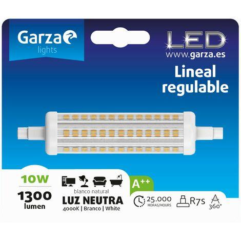 Bombilla lineal LED con casquillo R7S de 118mm, 10W 1300 lumenes, 360º Luz neutra