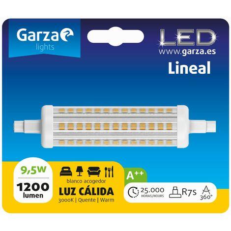Bombilla lineal LED con casquillo R7S de 118mm; 9,5W 1200 lumenes, 360°, luz cálida