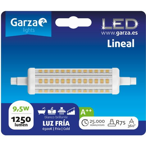 Bombilla lineal LED con casquillo R7S de 118mm; 9,5W 1200 lumenes, 360°, luz fría