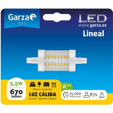 Bombilla lineal LED con casquillo R7S de 78mm; 5W 600 lumenes, 360°, luz cálida