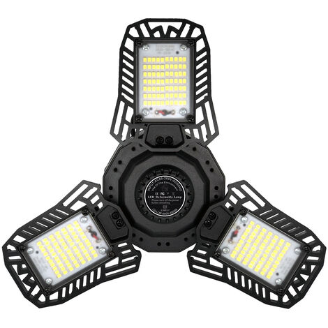 Bombilla plegable luces deformable Garaje Luces Sensor de movimiento de techo con paneles ajustables para Garaje Taller Almacen, Negro, 80W