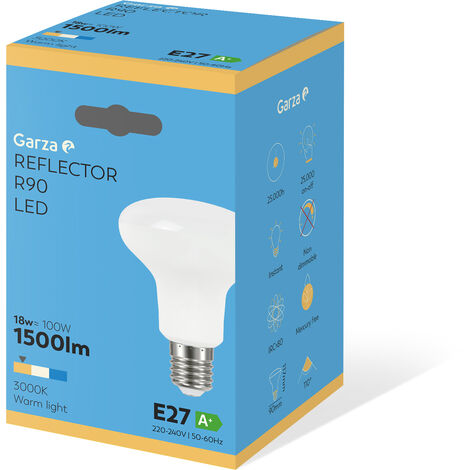 Bombilla Reflectora LED R90 18W E27 1500 lumenes, 110°, luz cálida