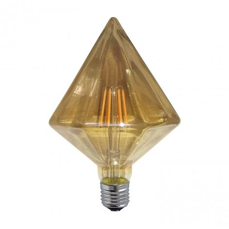 Bombilla regulable decorativa ámbar diamante LED E27 6W 2300k