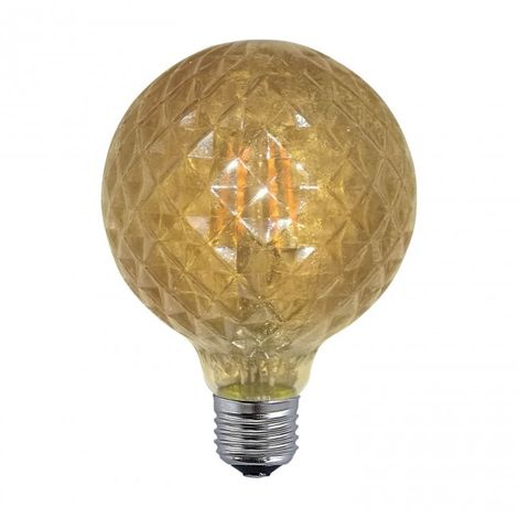 Bombilla regulable decorativa ámbar globo LED E27 6W 2300k