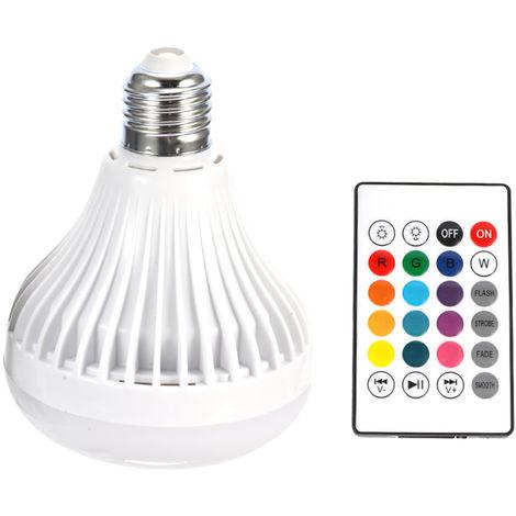 Bombilla RGB inalambrica E27, luz LED inteligente, reproductor de musica de audio, blanco