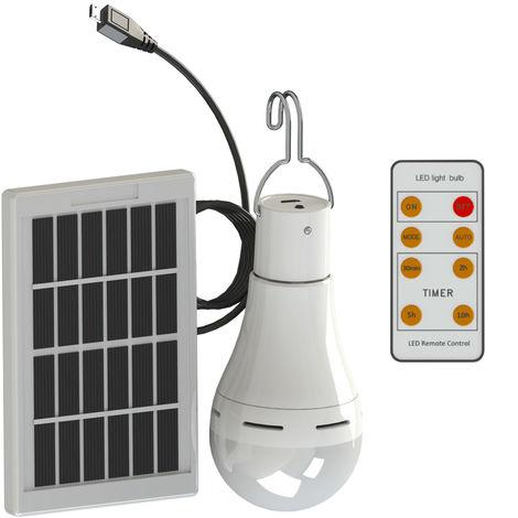 Bombilla solar portatil para acampar LED, control remoto,7W